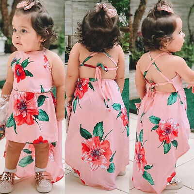 UK Summer Toddler Kids Baby Girls Sleeveless Clothes Flower Backless Party Dress