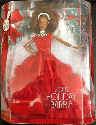 2018 30th Holiday ANNIVERSARY BARBIE  Doll African American Red Dress FRN70