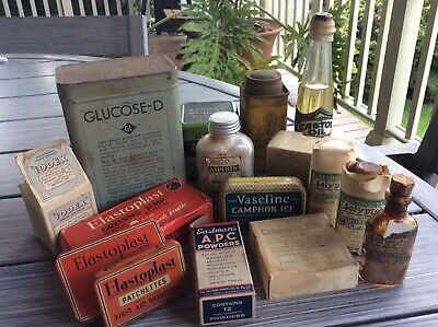 Bulk Lot Collectable Vintage Medicine Tins + Jars + Boxes + Bottles + Leaflets