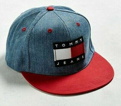 4bec28258b502 Tommy Hilfiger Jeans Denim Baseball Cap Flag Snapback Hat New retro 1990s  Look