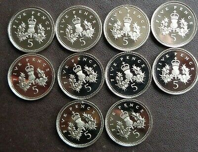 Job Lot 10 x 5p (Five Pence) Proof Coins 1991-2011