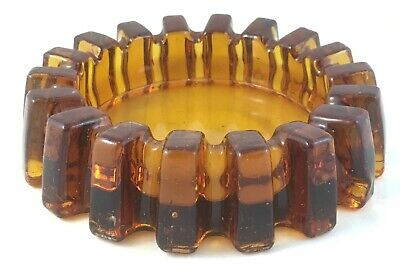 Large Vintage Honey Amber Depression Glass Piano Furniture Castor Insulator