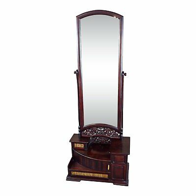 Japanese 1920s Antique Rosewood Kyodai Vanity Mirror