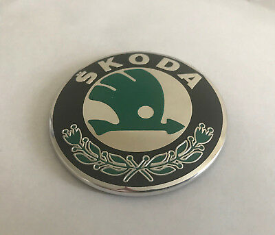 Skoda Rear Back Boot Badge Emblem Sticker Green Chrome Classic 80mm  SK2