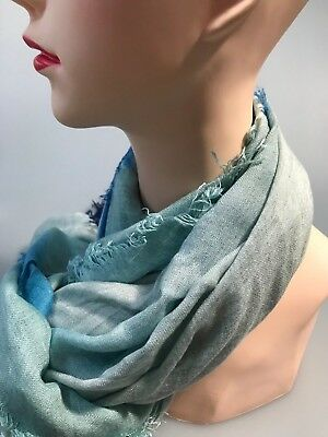 SPORTSCRAFT Lillia long- square viscose scarf blue-ivory in colour new with tag