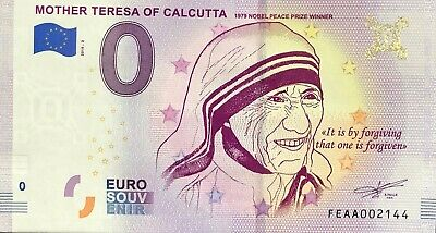 Billet 0 Zero Euro Souvenir Touristique Mother Theresa Of Calcutta 2019-1