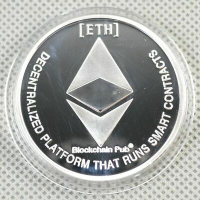 Silver Plated Physical Commemorative Coins Collectible ETH Ethereum Miner Coin