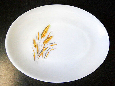 Vintage Collectable Fire-King White Pyrex Glass Wheat Design Oval Platter