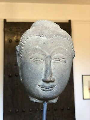 A sandstone Ayutthaya head of the Buddha- Thai, 16th Century- Beautiful and rare