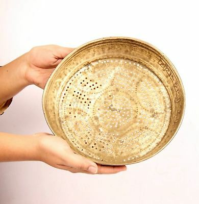 Beautiful Vintage Brass Water Drainer Plate Middle East Tray Plate-5746