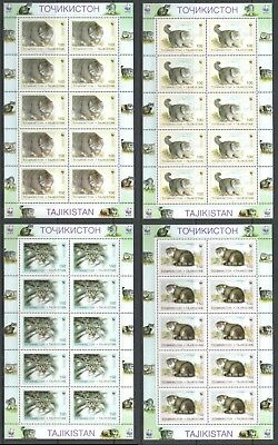 Asian Wild Cats Tajikistan 1996 Set+block Topical Stamps Hearty Felini Asiatici