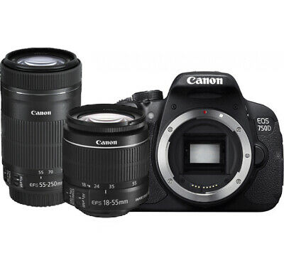 Canon EOS 750D 24.2MP DSLR Camera + 18-55mm IS STM + 55-250mm IS STM - UK STOCK