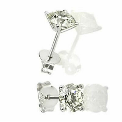 1 Carat Natural Solitaire Real Diamond 14K White Gold Bridal Stud Round Earrings