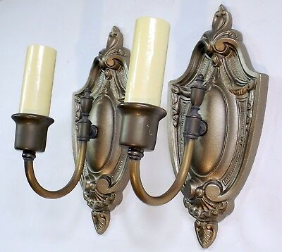 Pair Matching Vintage 20s Victorian Wall Lamp Sconce Light Fixtures Candle Style