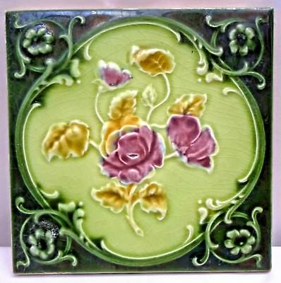 Tile Majolica Art Nouveau England Porcelain Rose Purple Architecture Collect#115
