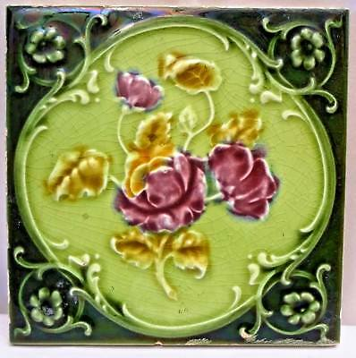 Tile Majolica Art Nouveau England Porcelain Rose Purple Architecture Collect#116