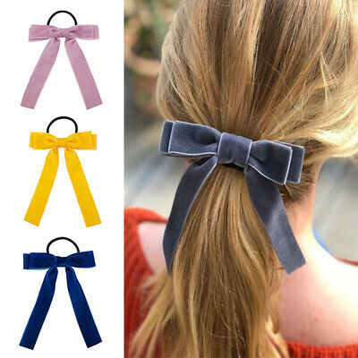 Elastic Bow Ties Holder Hair Rope Band Scrunchie Girls Velvet Accessories Charm