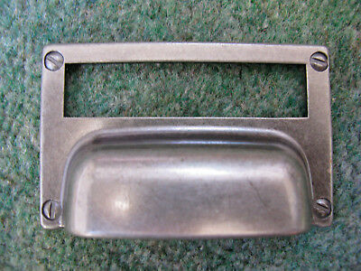 Pewter Style Cup handle cabinet door cupboard label card holder 50 availaible
