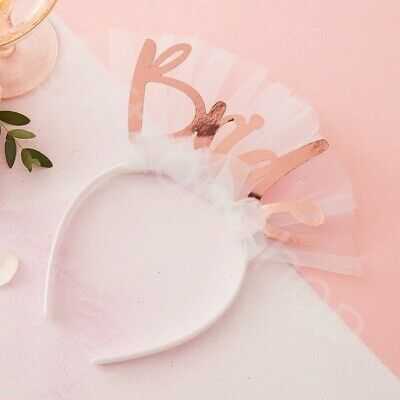 Bride to Be Headband Veil Team Bride Hen Night Party Accessories Rose Gold Tiara