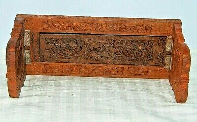 "Vintage Carved Wood Floral Expandable to 13"" Bible Book Shelf Rack Holder India"