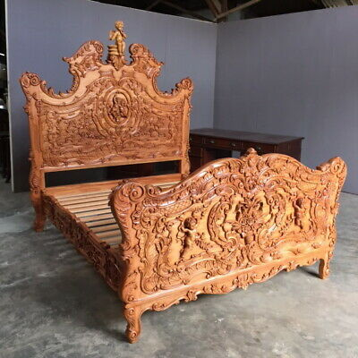 "4'6"" Double Size Wedding Bed Carved Cherub Design Antique Wax"