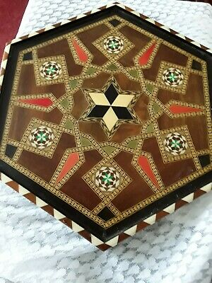 """Vintage Handmade Wood Inlay Marquetry Tray Hexagon 14"""" vibrant colours, stunning"""