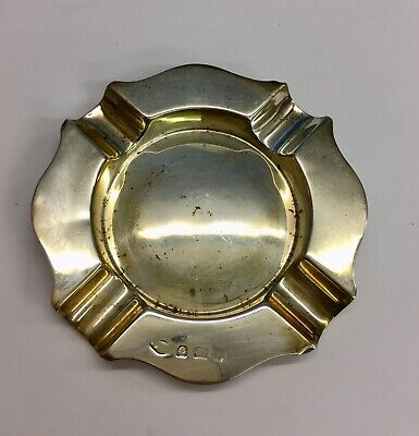 Vintage Solid Silver Ashtray Unknown Year or Maker Birmingham 42.1grams