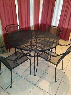 Wrought Iron 5 Piece Patio Dining Set Deck Furniture Outdoor Mesh Table Seats