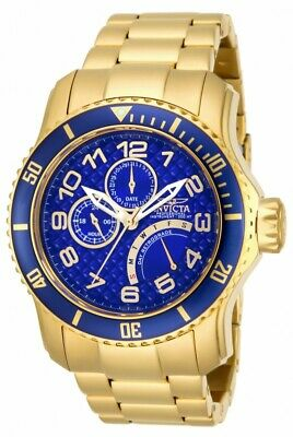 Invicta Pro Diver Multi-Function Blue Dial Gold Ion-plated Men's Watch 15342