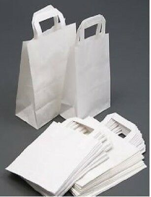100 LARGE White Kraft Paper SOS Food Carrier Bags With Handles Party Takeaway