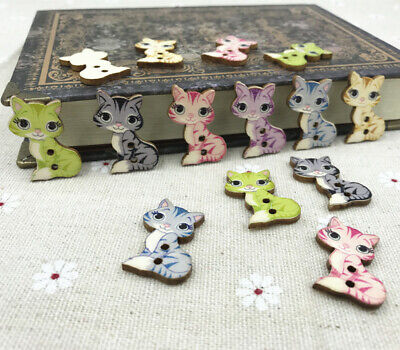 25pcs Wooden buttons Cartoon Mixed-color Cat Fit sewing or scrapbooking 27mm