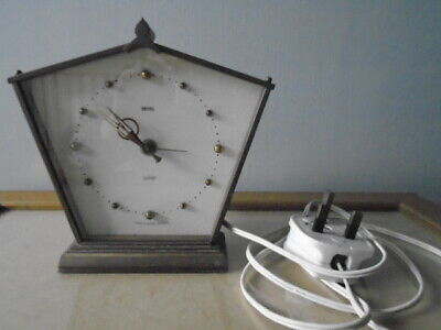 Vintage 1950s Smiths Sectric Electrical Hexagonal Brass Mantel Clock - England