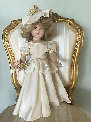 "Vintage 1940's Effanbee Little Lady 18"" Composition Bride Doll, All Original"