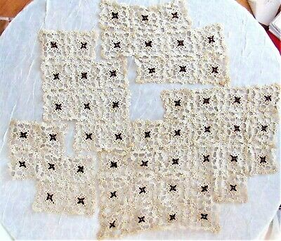 "C. 1920s Tatting Bobbin Lace 4 Pieces,  51 Squares, 2.5"" x 2.5"" each"