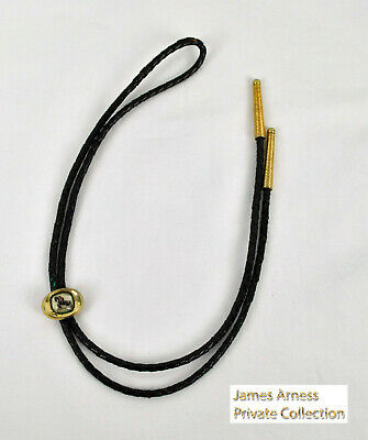 James Arness  Gunsmoke Marshal Dillon Black Braided Bolo Tie