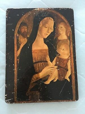 Vintage Print Icon of Virgin Mary Madonna & Baby Jesus on Wood Block