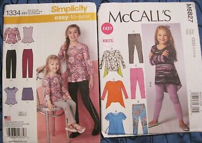 af3a2b18e3642 Simplicity and McCall s Sewing Patterns Girls Top Leggings Pants Skirt 1334  6827