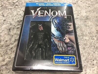 Venom Movie Walmart Exclusive Blu-ray+DVD+Digital Copy+Retro Action Figure NEW