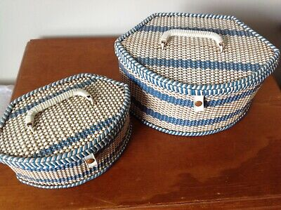 Blue and white Vintage Sewing Baskets x2