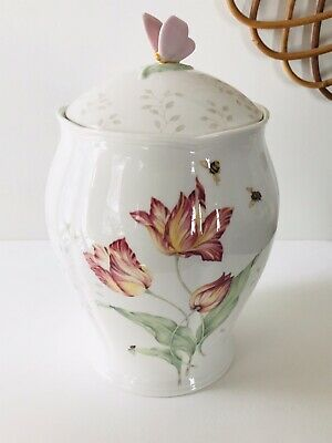 Lenox Butterfly Meadow Large Canister Cookie Jar Bees Dragonfly Pink Flowers