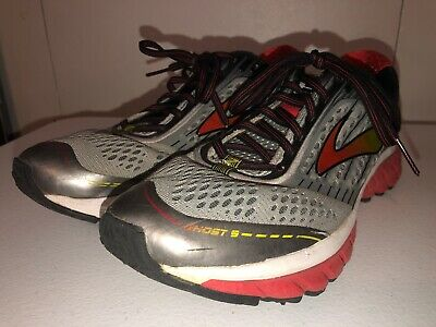 386e183012e Brooks Ghost 9 Mens Running Shoes Sz 9.5 Gray Black Red Athletic Sneakers