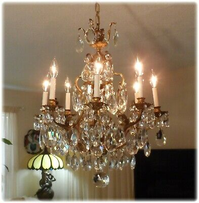 Vintage Large French Bronze 8 Arms Chandelier with Huge French Prisms