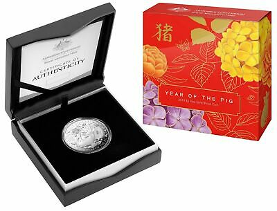 2019 $5 RAM Lunar Year of the Pig 1oz Silver Proof Coin COA