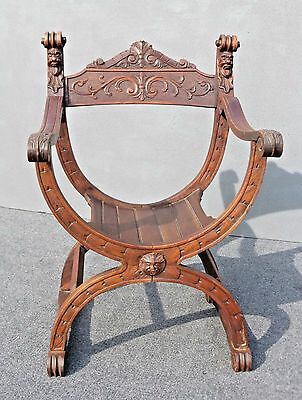 Antique Spanish Gothic Savonrola X Ornate Dagobert Arm Chair France 1870's