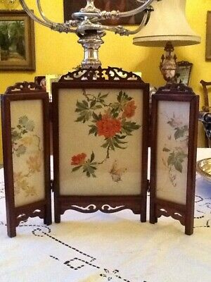 Vintage Mid Century Chinese Mini Rosewood Carved 3 Fold Glazed  Screen 29cm Tall