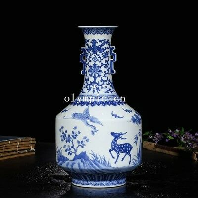 12''china blue and white porcelain handmade painting flower bird crane deer vase
