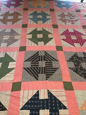 "Extremely Old Handmade Quilt - Sewn by Hand - Flour Sack Back - 84"" X 90"""