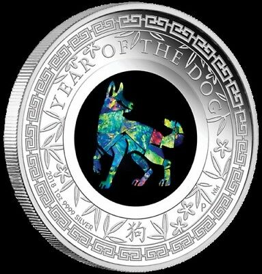 2018 1oz Opal Lunar Dog Proof Coin unopened from Perth Mint