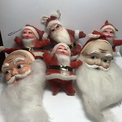 6 Old 1950's Era SANTA CLAUS Flocked Christmas ORNAMENTS With COTTON Beards