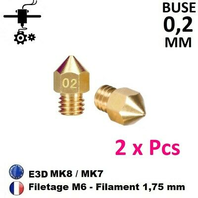 2 x Buse Nozzle 0.2mm M6 Thread Filament 1.75mm Extrudeur MK8, MK7 Imprimante 3D